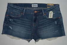 Womens AEROPOSTALE Crochet Pocket Medium Wash Denim Shorty Shorts NWT #0352