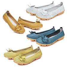 Women genuine Leather Flats Shoes Cut Outs Flats Comfort Shoes Moccasins WS