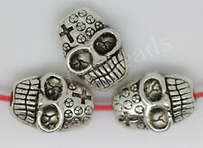 40/200pcs Tibetan Silver two-sided Skull Beads Charms Spacer Beads 10x7mm