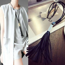Fashion Charm Woman's Leather Tassels Pendant Long Chain Sweater Necklace Gift