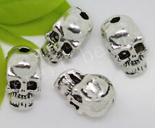 40/200pcs Tibetan Silver two-sided Skull Jewelry Charms Spacer Beads 10x6mm