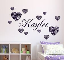 Personalized Name & 12 Zebra Pattern Hearts Vinyl Wall Decal Stickers Decor