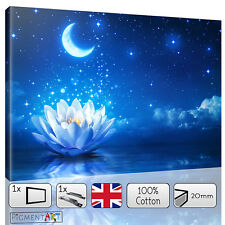 LARGE ZEN MAGIC BLUE NIGHT WITH WATERLILY CANVAS WALL ART PRINTS PICTURES