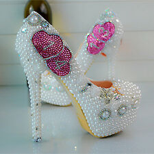 Pearl Pink White Love 1314 Wedding Ball Club Shoe High Heels Evening Party O