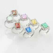 Solid 925 Sterling Silver Blue Pink White Fire Opal Gems Rings Size 6 7 8 9 X2I6
