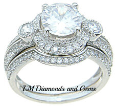 925 Sterling Silver Round CZ Wedding Set Victorian Bridal Engagement Rings