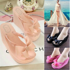 New Hot Women Platform Mid Heel Flip Flops Beach Sandals Bowknot Thongs Shoes 16
