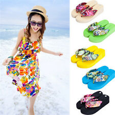 Women Summer High-heeled Thick Flip Flops Sandals Beach Slippers Shoes 009