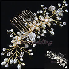 Silver/Gold Flower Leaf Crystal Rhinestone Wedding Hair Combs Bridal Clip Tiara