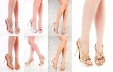 New Gold Silver Rhinestone Beaded Strappy Heels Faux Leather High Heels Shoes