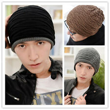 Mens womens Crochet Knit Plicate Baggy Ski Beanie Wool Hat Double Side Cap 46
