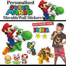 Super Mario Personalised Wall Sticker Decal Set Easy Remove Reuse