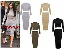 New Ladies Celeb Kim Kardashian Polo Crop Top Ruched Midi Skirt Co-Ord Set 8-14