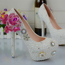 Handmade Pearl White Pink Rose Wedding Ball Club Shoe High Heels Evening Party O