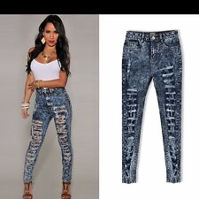 Women Sexy Stretchy Distressed Jeans Ripped Pencil Skinny Denim Jeggings Trouser
