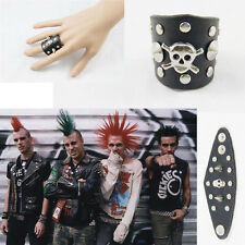 Adjustable Punk Silvery Skull Pirate Rivet Stud Black Leather Gothic Ring