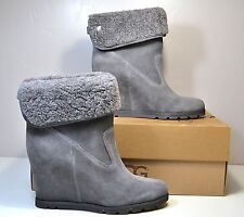 NWT UGG AUSTRALIA KYRA GRAY SUEDE WEDGE ANKLE BOOTIES BOOTS SHOES SZ 9.5, 10