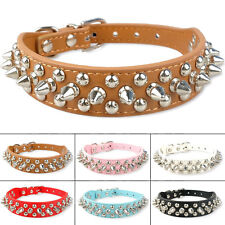 "1"" Wide PU Leather Spiked Studded Rivet Collar Dog Pet Adjustable Strap XS S M L"