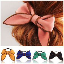 Fashion Women Bow Hairband Scrunchie Ponytail Holder Satin Ribbon Hair Rope CFK
