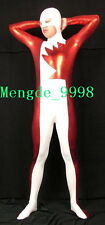 HALLOWEEN COSPLAY SUIT SHINY RED/WHITE METALLIC SEXY CATSUIT COSTUME UNISEX N147