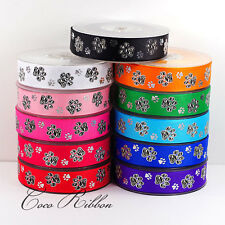 "10/25 Yards 7/8"" 22mm Silver Sparkle Zebra Paw Grosgrain Ribbon - 14 Colors"