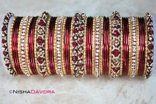 50 piece set Indian Bangles Deep Red churra many sizes