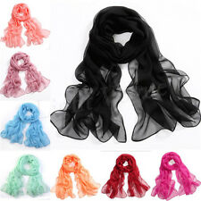 Hot Girls Women's Fashion Long Soft Wrap Lady Shawl Silk Chiffon Scarf 20 Colors