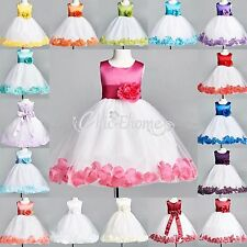 Size 2-14 Petal Flower Girl Princess Pageant Party Wedding Formal Dress Birthday