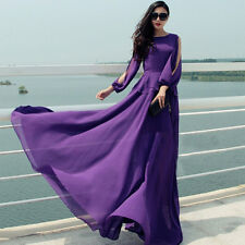 Fashion Women Sexy Summer Party Cocktial Chiffon Casual  Long Sleeve Maxi Dress