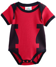 Baby Boys Bodysuit Deadpool Babygrow Short Sleeves Size 0-18 Months