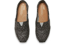 NIB $59 TOMS WOMEN'S CLASSIC SLIVER GLITTER WOOL ESPADRILLE SLIP-ON SHOES