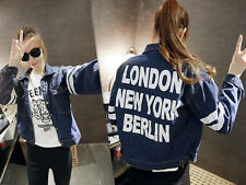 Womens Jeans Coat Boyfriend BF Jacket Letter  Jacket Outwear Demin Long Sleeve