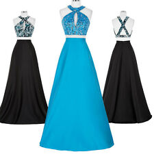 Satin Sequined 2 Piece Long Prom Dress Formal Evening Ball Gown Homecoming Dress