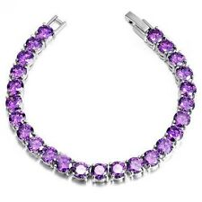 18K White Gold GP Purple Swarovski Crystal mother Bracelet Hand Chain BT112d