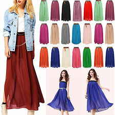 LADIES WOMEN  LONG JERSEY MAXI SKIRT CHIFFON GYPSY BODYCON SUMMER DRESS  NEW