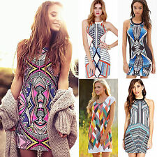 Sexy Summer Womens Boho Aztec Bodycon Party Mini Short Dresses Cocktail Sundress