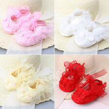 New Non-Slip Newborn Baby Toddler Shoes Lace Flower Princess Girl Prewalker Crib