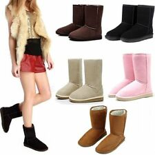 Winter Womens Girls Warm Suede Fur Lined Mid-calf Snow Flat Short Boots Shoes