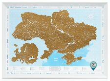 Framed Scratch off Ukraine Map with Stickers, Premium Traveler Gift, Ukrainian