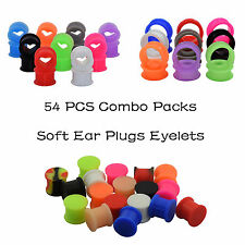 54PCS Double Flared Silicone Ear Gauges-Ear Plugs Tunnels Round Square Teardrop