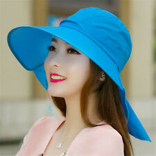 New Fashion Woman Wide Brim Sun Hat Outdoor UV Neck Protection Beach Hiking Caps
