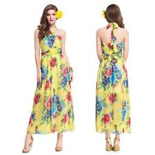 Womens Sexy Long Maxi Halter Neck Floral Beach Dress Summer Chiffon Dress D0E1