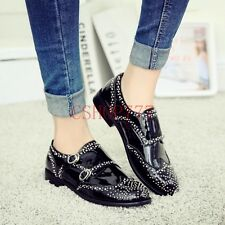 New Womens Genuine Leather Rivet Brogues Punk Casual Shoes Flats UK Size Oxfords