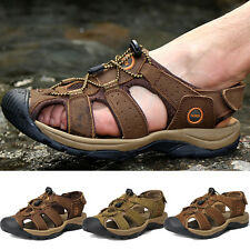 Mens Genuine Leather Outdoor Sports Walking Sandals Casual Summer Beach Shoes