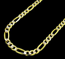 5.5MM SOLID Gold 14K Diamond Cut Necklace Figaro Pave Link Chain 20-28 Inches