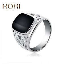 New Women Fashion White Gold Plated Enamel Square Hollow Ring Size 6 7 8 M1R2