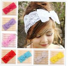 Baby Girls Lace Turban Headband Toddler Kid Hairbow Bowknot Hairband Headwear