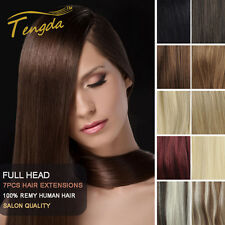 """18"""" Clip in Full Head Remy Human Hair Extensions 90g"""