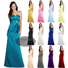 Hot Stock Satin Formal Prom Party Ball Gown Long  Evening Bridesmaid Dress  6-20
