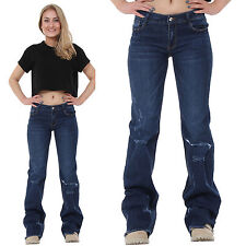 New Womens 60s 70s Blue Ripped Distressed Bootcut Flared Jeans Frayed Leg Ends